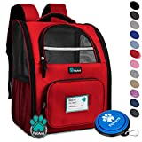 PetAmi Deluxe Pet Carrier Backpack for Small Cats and Dogs, Puppies | Ventilated Design, Two-Sided Entry, Safety Features and Cushion Back Support | for Travel, Hiking, Outdoor Use (Red)