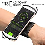 VUP Wristband Phone Holder for iPhone X iPhone 8 8Plus 7 7 Plus 6S 6 5S Samsung Galaxy S8 Plus S7 Edge, Google Pixel, 180° Rotatable, Great for Hiking Biking Walking Running Armband(Black)