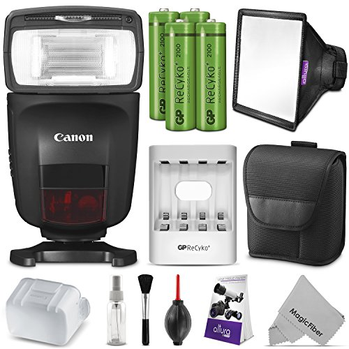 Canon Speedlite 470EX-AI w/Essential Photo Bundle – Includes: Altura Photo Softbox Flash Diffuser, AA Rechargeable Batteries w/Charger