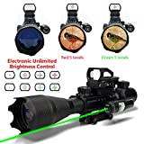AR15 Tactical Rifle Scopes 4-16x50EG Dual Illuminated with Electronic Holographic R&G Dot Sight for Hunting and Green laser(24 Month Warranty)