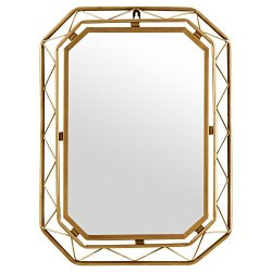 Amazon Brand – Rivet Modern Metal Lattice-Work Octagonal Hanging Wall Mirror 22.25 Inch Height, Gold Finish