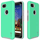 Google Pixel 3a Phone Case - CoverON Rugged Series - Hard Shockproof Protective Cover with Easy-Press Metalized Buttons for The Google Pixel 3a (2019) (Mint Teal)