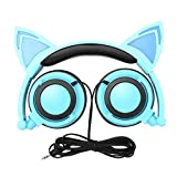 Cat Ear Headphones,DiceKoo Kids Headphones Flashing Glowing Cosplay Fancy Cat Ear Headphones Foldable Over-Ear Gaming Headsets Earphone with LED Flash Light for iPhone 6S,Anroid Mobile Phone (Blue)