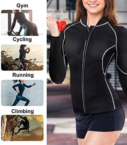 Nebility Women Waist Trainer Jacket Hot Sweat Shirt Weight Loss Sauna Suit Workout Body Shaper Neoprene Top Long Sleeve 6