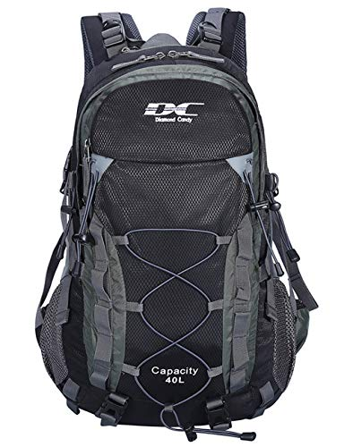 Diamond Candy Waterproof Hiking Backpack 40L with Rain Cover for Outdoor Black
