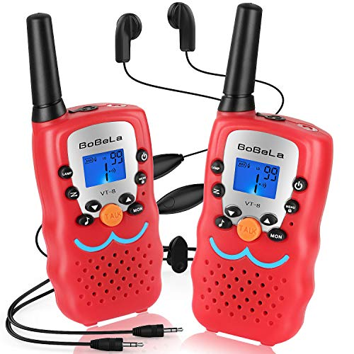 Bobela  Walkie-Talkies with Headset and Mic, CTCSS DCS Walky-Talkies 3-Mile Range 22-Channels Built-in Flashlight Microphone Button Lock LCD Display (2 Pack Red VT8)