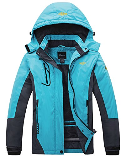 Wantdo Women's Waterproof Mountain Jacket Fleece Windproof Ski Jacket Blue US L  Blue Large