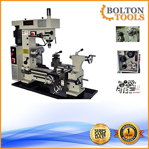 Bolton Tools 16' x 20' Combo Metal Lathe/Mill Drill Runs On 2 Separate Motors   BT500