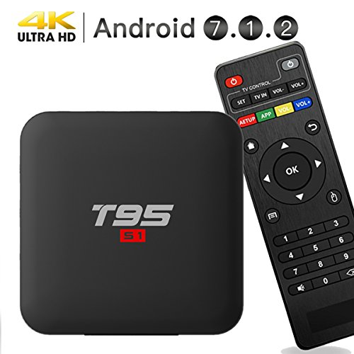 EASYTONE Android 7.1.2 TV Box,2018 Model Smart TV Box Quad-core 64 Bits /1GB+8GB Supporting 4K (60Hz) Full HD/H.265/2.4G WiFi/HD 2.0 T95 Android Box