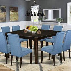 9Pc Square Dining table with linen Blue fabric Parson chairs with cappuccino chair legs