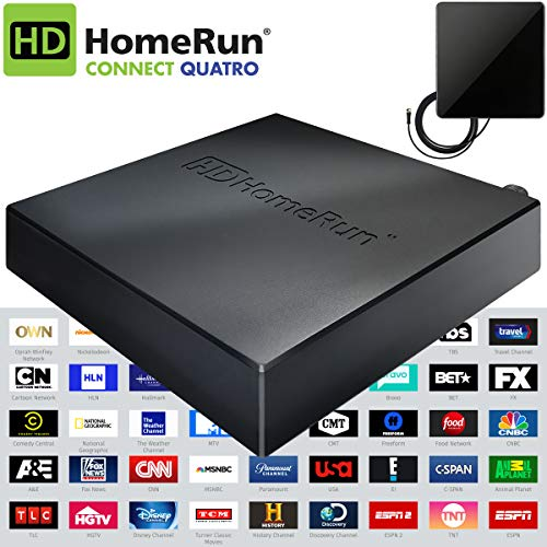 SiliconDust HDHomeRun Connect Quatro Live TV for Cord Cutters 4-Tuner (HDHR5-4US) Bonus Includes Indoor Flat 4K HDTV Multi-Directional Antenna