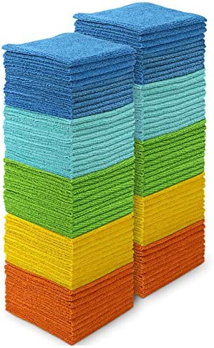 AIDEA Microfiber Cleaning Cloths-100PK, Softer and More Absorbent, Lint-Free, Wash Cloth for Home, Kitchen, Car, Window (12in.x12in.)