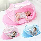 LUCKSTAR Baby Travel Bed - Fold Baby Bed Mosquito Net Netting Play Tent House for Baby/Kids (Pink)