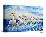 FoxyCanvas Running Wild Seven Horses Galloping in Dust In Sunset Giclee Canvas Print Stretched and Framed Wall Art for Home and Office Decorations 24x16 inch