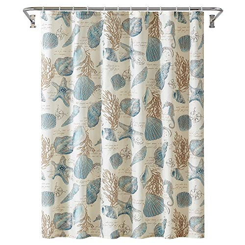 Yostev Starfish and Shell Ivory Bathroom Fabric Shower Curtain with Hooks,Unique 3D Printing,Decorative Bathroom Accessories,Water Proof,Reinforced Metal Grommets 72x72 Inches (Ivory Starfish, 72x72)