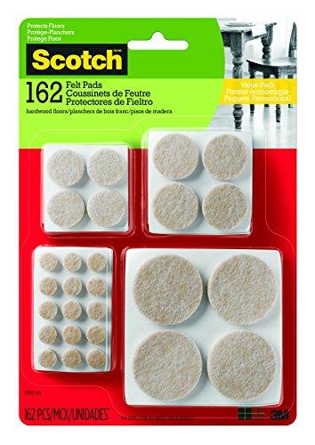 Scotch Brand SP845 051141412306 Scotch Felt Value, Round, Beige, Assorted Sizes, 162 Pads/Pack (SP845-NA)
