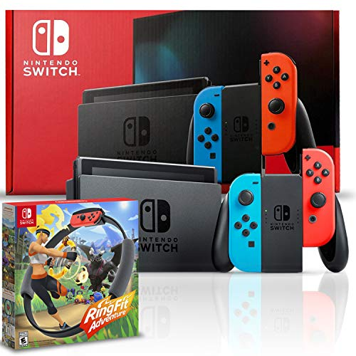 Nintendo-Switch-with-Neon-Blue-and-Red-Joy-Con-Bundle-with-Ring-Fit-Adventure