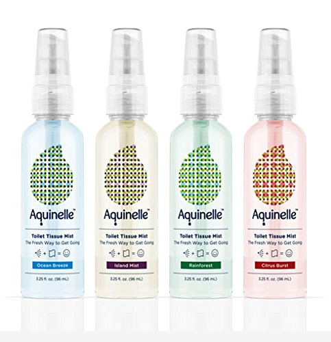Aquinelle Toilet Tissue Mist - 4 Small 3oz Bottles- Environmentally Friendly & Non-Clogging Alternative to Flushable Wipes - Simply Spray On: Kleenex Or ANY Folded Toilet Paper