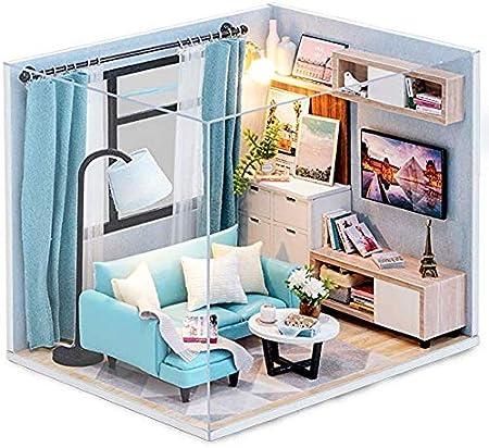 CUTEBEE ドールハウスミニチュア、家具、DIYドールハウスキット、防塵、子供向け音楽ムーブメントギフト(並行輸入品)