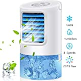 Arctic Portable Air Conditioner Fan, Mini Personal Evaporative Air Cooler Small Desktop Cooling Fan with 7 Colors LED Lights, Super Quiet Personal Table Fan Mini Evaporative Air Circulator Cooler