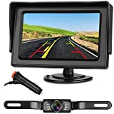 Emmako Backup Camera and 4.3' Monitor System For Car/SUV/RV/Pickup/Truck/Trailer IP68 Waterproof Night Vision Rear View Camera Single Power Reversing/Driving Use With Guide Lines