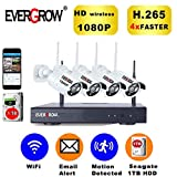 [2019 Newest] EVERGROW H.265 Wireless Home Security Cameras System,4 Channel Network IP NVR, 1TB Hard Drive,4 HD 2.0MP 1080P Wireless Weatherproof Indoor Outdoor CAM-WIFI-4CH-2MP-168