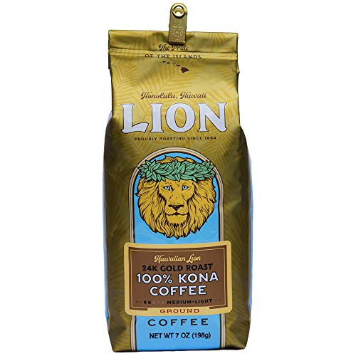 Lion Coffee, 24K Gold Roast, 100% Kona Ground Coffee, 7 Ounce Bag...