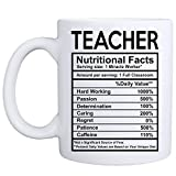 MyCozyCups Teacher Nutritional Facts Mug - Funny 11oz School Teaching Novelty Gift Classroom Decoration for Birthday, Christmas, Graduation, Retirement, Xmas, Appreciation for Him/Her from Students