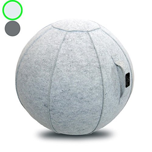 Sitting Ball Chair with Handle for Home, Office, Pilates, Yoga, Stability and Fitness - Includes Exercise Ball with Pump (Tuscan Marble, 24 in)