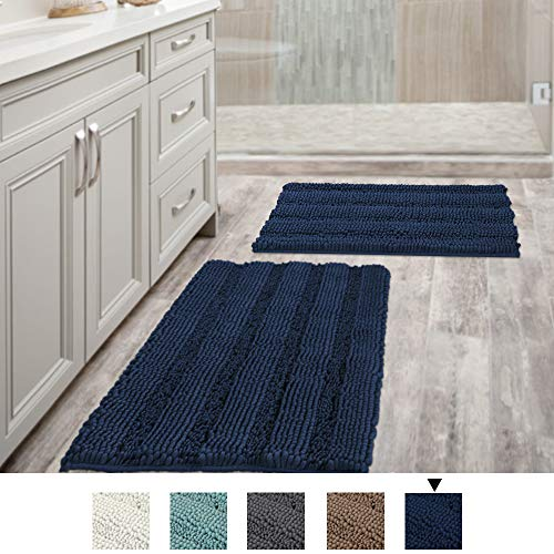 Navy Blue Bathroom Rugs Slip-Resistant Extra Absorbent Soft and Fluffy Striped Bath Mat Set Chenille Bath Rugs, Floor Mats Dry Fast Machine Washable (Set of 2-20' x 32'/17' x 24')