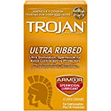 Trojan Stimulations Ultra Ribbed Spermicidal Condoms, 12ct