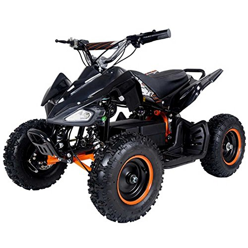 FamilyGoKarts Electric 500 WATT ATV Kids Youth Sport Quad for Children with Reverse (Brushless Motor) - Black/Orange