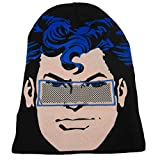DC Comics Mens Black Superman Beanie Stocking Cap Winter Hat