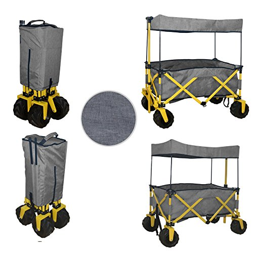 COMPACT FOLDED JUMBO WHEEL GREY FOLDING WAGON ALL PURPOSE GARDEN UTILITY BEACH SHOPPING TRAVEL CART OUTDOOR SPORT COLLAPSIBLE WITH CANOPY COVER GRAY - EASY SETUP NO TOOL NECESSARY - SPACE SAVER