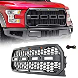 Modifying Grey Front Grill for Ford F150 Raptor 2015 2016 2017, Including XL, XLT, LARIAT, King Ranch, Platinum and Limited, Amber LED Lights included, Raptor Style Grille