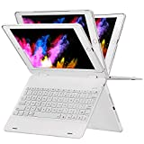 ipad Keyboard Case 9.7 Compatible ipad 2018(6th Gen), 2017(5th Gen), ipad Pro 9.7, Air, Air 2-360 Degree Flip- Wireless- 7 Color Backlit- Auto Sleep Wake iPad Case Keyboard (White)