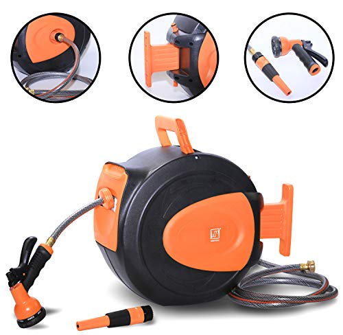 Wellmax Retractable Water Hose Reel with Wall Mount, Flexible Garden Hoses Expandable Up to 65ft + 7ft Hose Connector, Kink Free and Convenient Storage