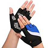 Huade Bicycle Cycling Gloves Sports Gym Fitness Workout Exercise Quick Dry Fingerless Gloves Gel Pad Shock-absorbing Anti- Slip Breathable Motorcycle Mountain Bike for Women Men kids(Dark Blue,L)