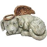 Windhaven Urns Pet Memorial Angel Dog Sleeping Cremation Urn Memorial Statue Bottom Load 30 Cubic Inch
