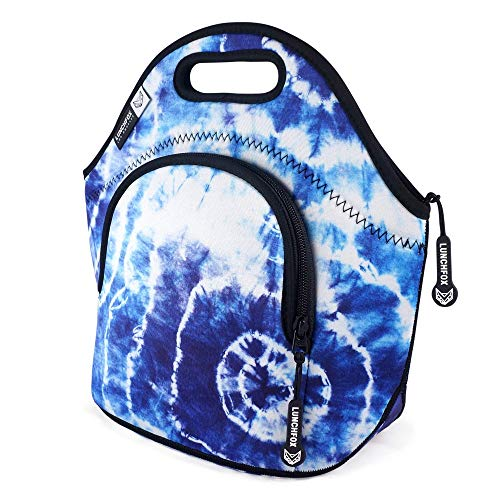 Neoprene Lunch Bag for Women/Men - Heart of Venice by LunchFox - Tie Dye Insulated Bags/Totes - (The Original) Ultra Thick Neoprene Lunch Tote - The Adult 'Lunch Box' for Work, School, or Play
