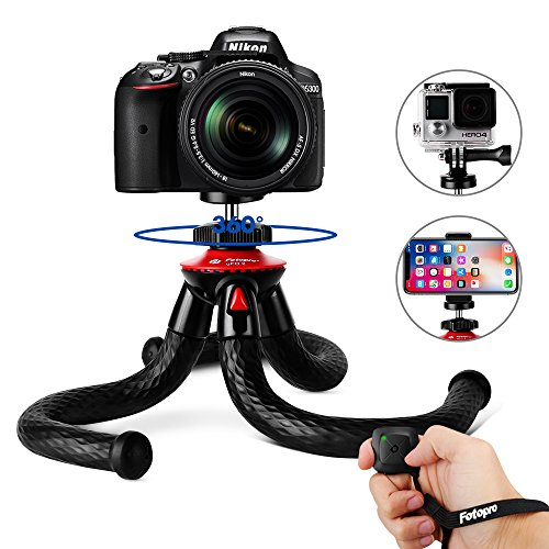 Tripods for Phone, Fotopro 12' Flexible Tripod with Bluetooth for iPhone X...