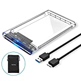 ELUTENG USB3 External Hard Drive Enclosure Clear 2.5 SATA to USB3 UASP Portable SSD Hard Drive Case Max 2T HDD Tool-Free Transparent Compatible for Samsung WD Intel