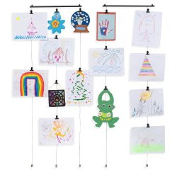 2 Pack Hanging Kids Art Project Picture Display Photo Holder with Metal Cable Strings and 48 Magnetic Clips Metal Black