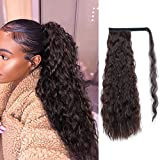 Stamped Glorious Corn Wave Ponytail Extension Wrap Around Ponytail Extensions Long Mixed Color Wavy Synthetic Magic Paste Ponytail Hair Piece for Women (2/33)