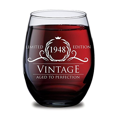 1948 70th Birthday Gifts For Women And Men Wine Glass Funny Vintage Anniversary Gift Ideas Him Her Husband Or Wife Cups Dad Mom