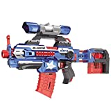 Foam Dart 'Attack Blaster' with Rapid Refill Cartridges by Dimple, Includes 40 Aerodynamic Soft Foam Darts, 2 Magazine Clips, Clip-on Scope & Extendable Body (Blue)