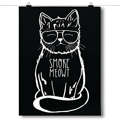 Inspired Posters Smoke Meowt - Stoner Cat Poster Size 18x24