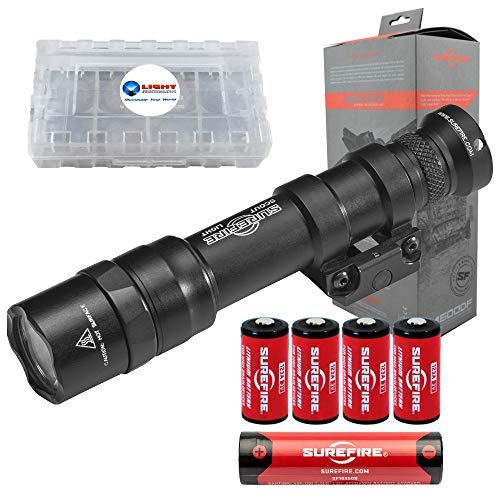 SureFire M600DF Scout 1500 Lumen Tactical Weaponlight with Micro USB Rechargeable 18650 Battery, 4 Extra Surefire CR123A Batteries and Lightjunction Battery Case