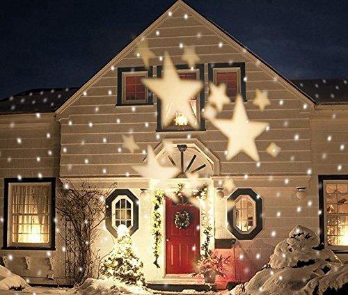 LUCKY CLOVER-A Navidad Copos de nieve proyector estrella impermeable giratorio LED paisaje lámpara...