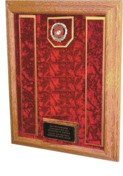Military Medal Awards Display Case - 16x20 - Shadow Box (USMC EGA Emblem/Red Velvet)